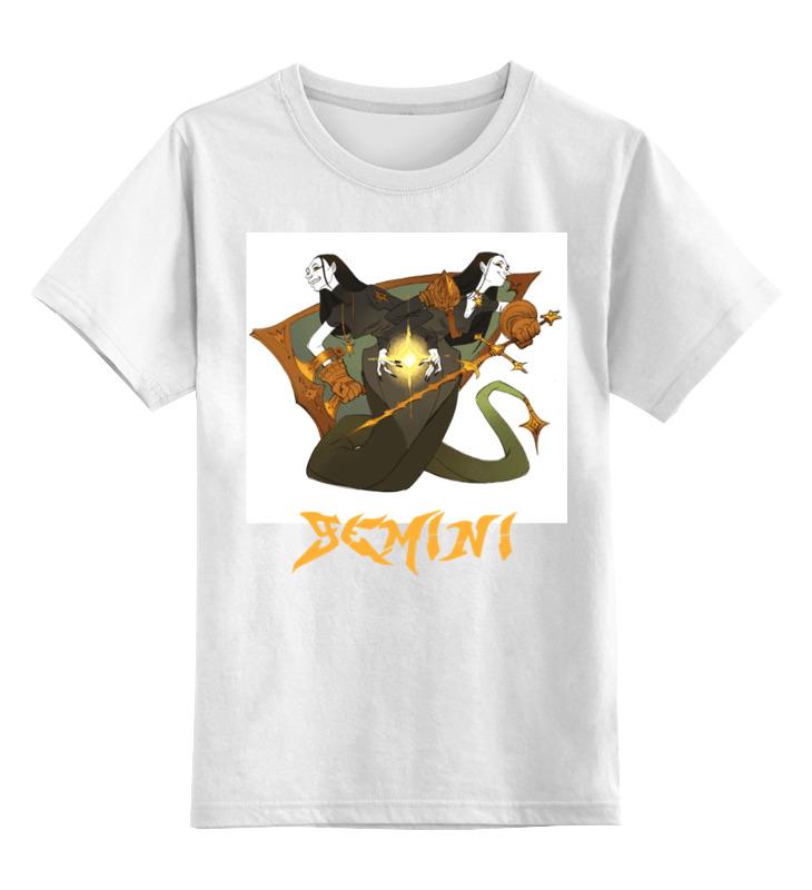 Купить 0000002668439, Детская футболка Printio Знак зодиака близнецы цв.белый р.140,
