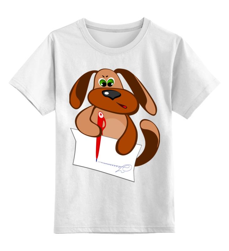 Детская футболка Printio Пес захар пишет письмо цв.белый р.140