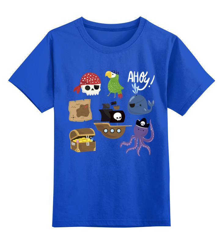 Купить 0000002739700, Детская футболка Printio Пираты цв.синий р.140,