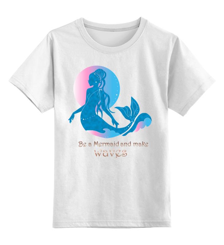 Купить 0000002774697, Детская футболка Printio Будь русалкой. красивый силуэт с золотыми буквами цв.белый р.140,