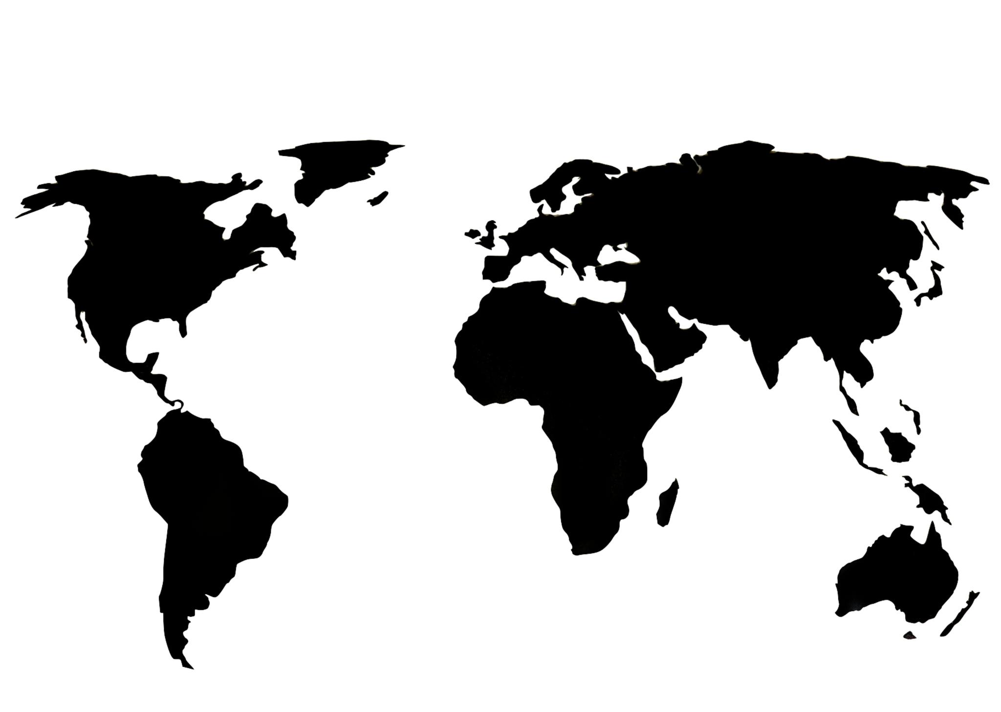 Деревянная карта мира 120х60 см Premium (Черная)