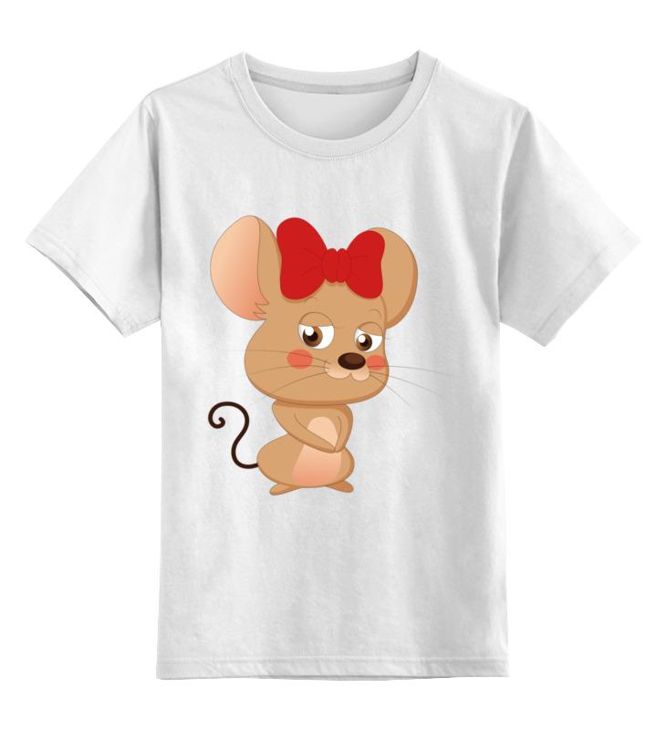 Купить 0000002802005, Детская футболка Printio Мышка цв.белый р.140,