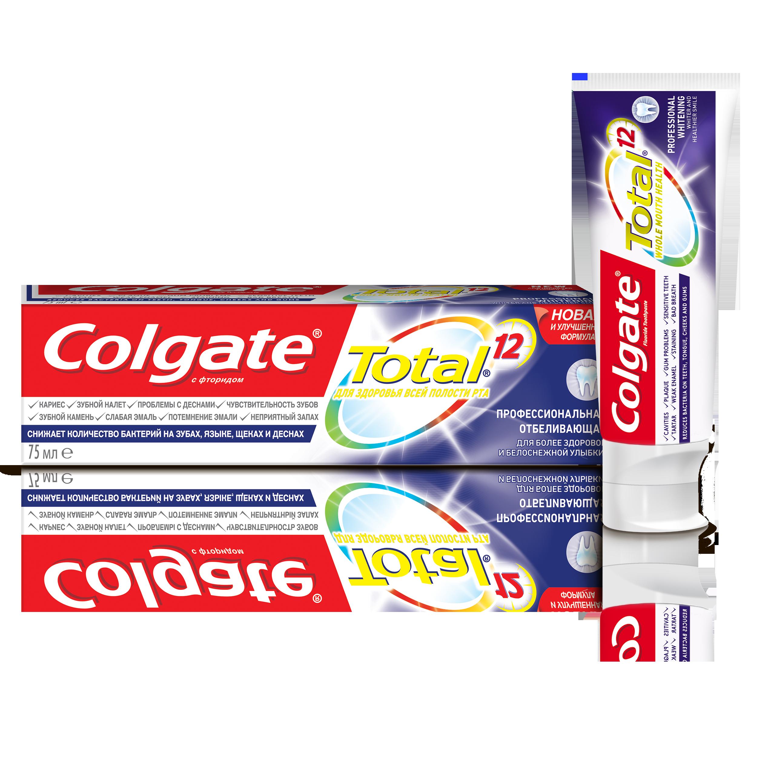 Зубная паста Colgate TOTAL12 Профессиональная отбеливающая 75мл фото