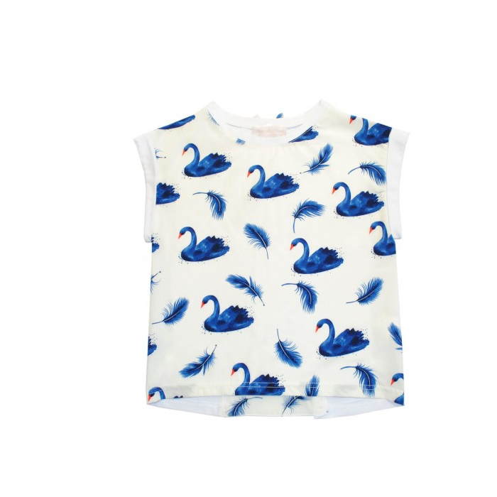 581, Блузка детская Bon&Bon р.134 цв.бежевый, белый, птицы,  - купить со скидкой