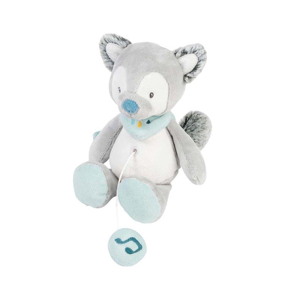Купить Игрушка мягкая Nattou Musical Soft toy MINI Tim & Tiloo Волк музыкальная 498081,
