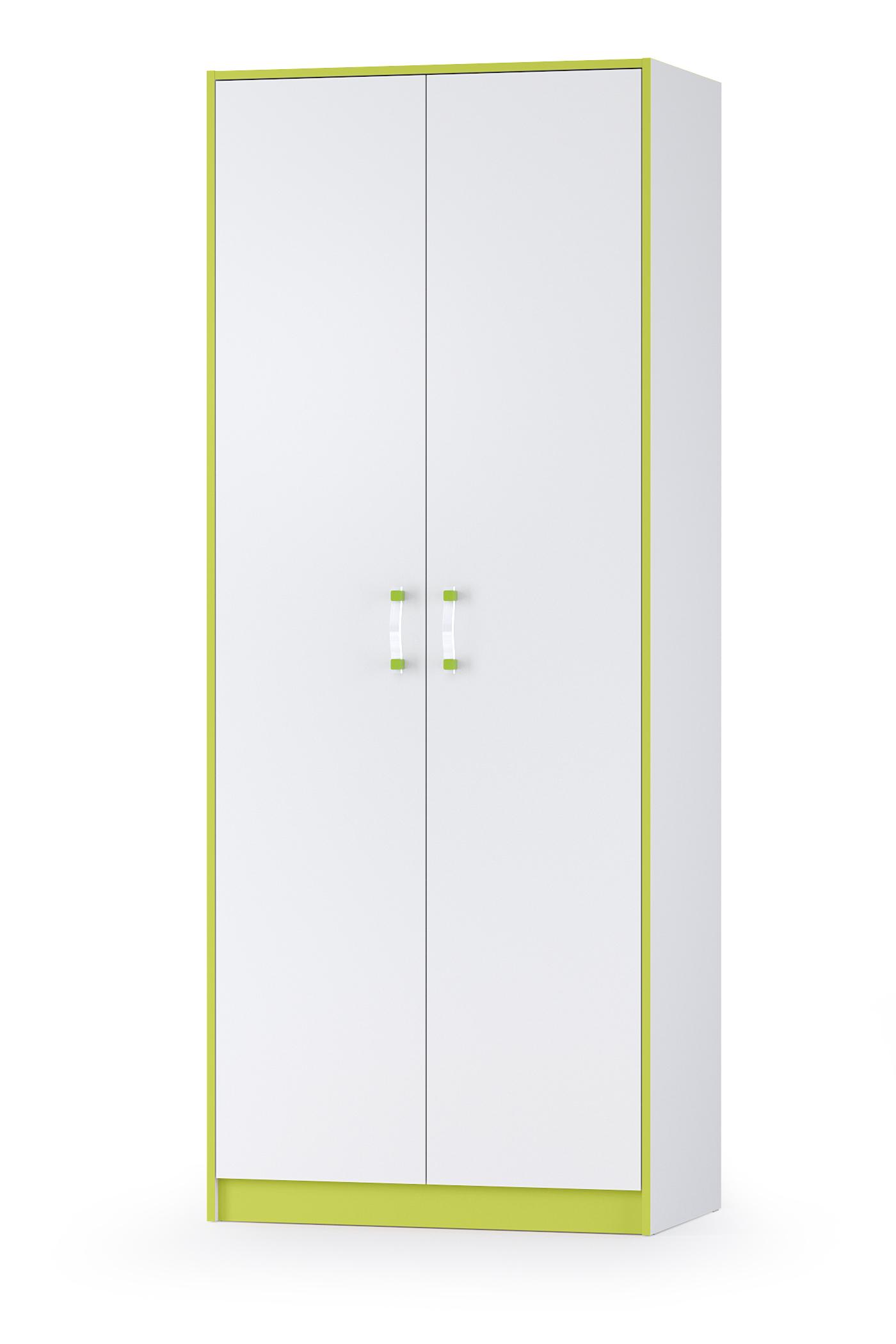 Шкаф двухдверный Mobi Альфа 13.42 лайм зеленый/белый премиум, 87х53х218 см