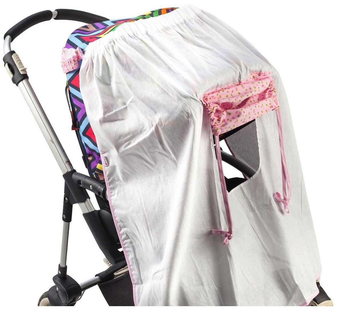 Накидка от солнца на коляску Mammie белая с розовым
