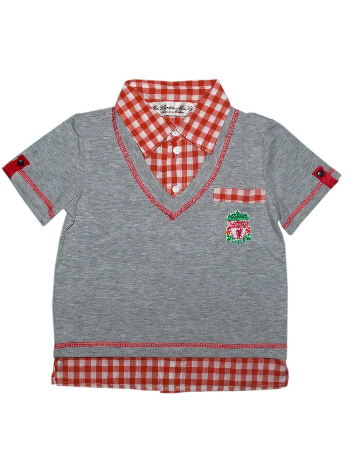 Рубашка для мальчика Bon&Bon р.92 98 цв.серый,