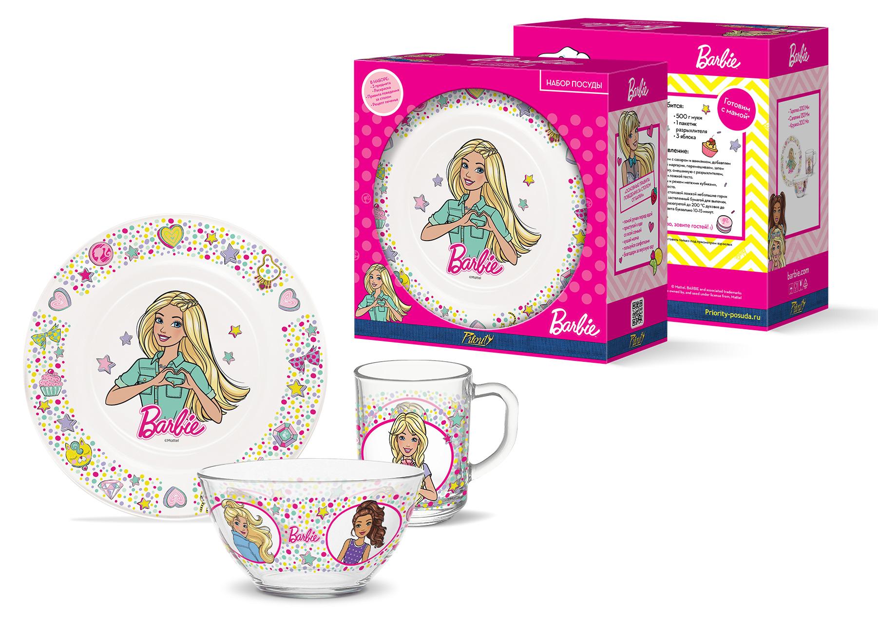 Набор стеклянной посуды детский PrioritY Барби,