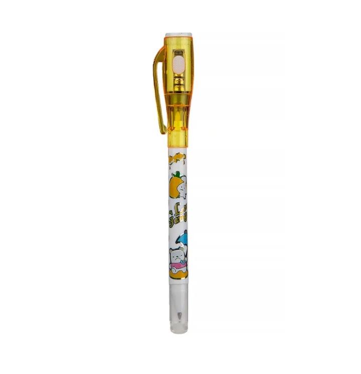 Ручка-шпион wellywell с невидимыми чернилами и УФ фонариком, 1шт, Shpion-yellow-pen1