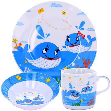 Набор детской посуды LORAINE Киты, 3 предмета