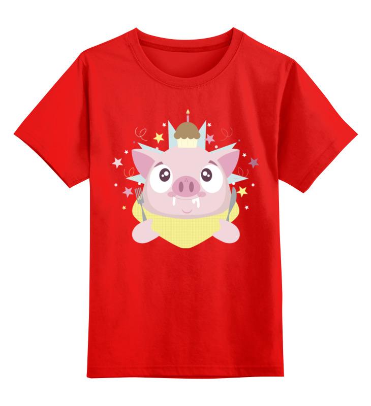 Детская футболка Printio Свинья цв.красный р.128 0000002560313 по цене 990