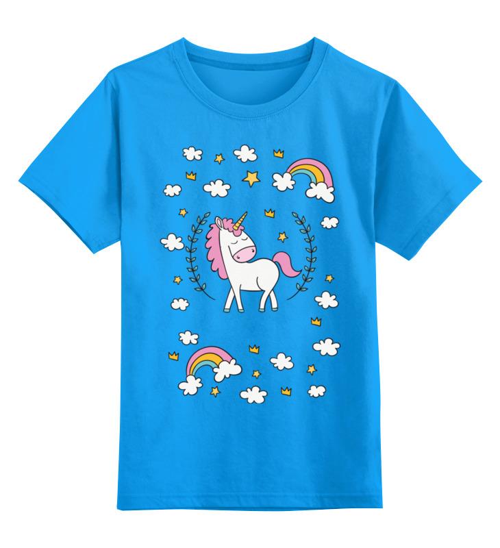 Купить 0000002564396, Детская футболка Printio Единорог цв.голубой р.128,