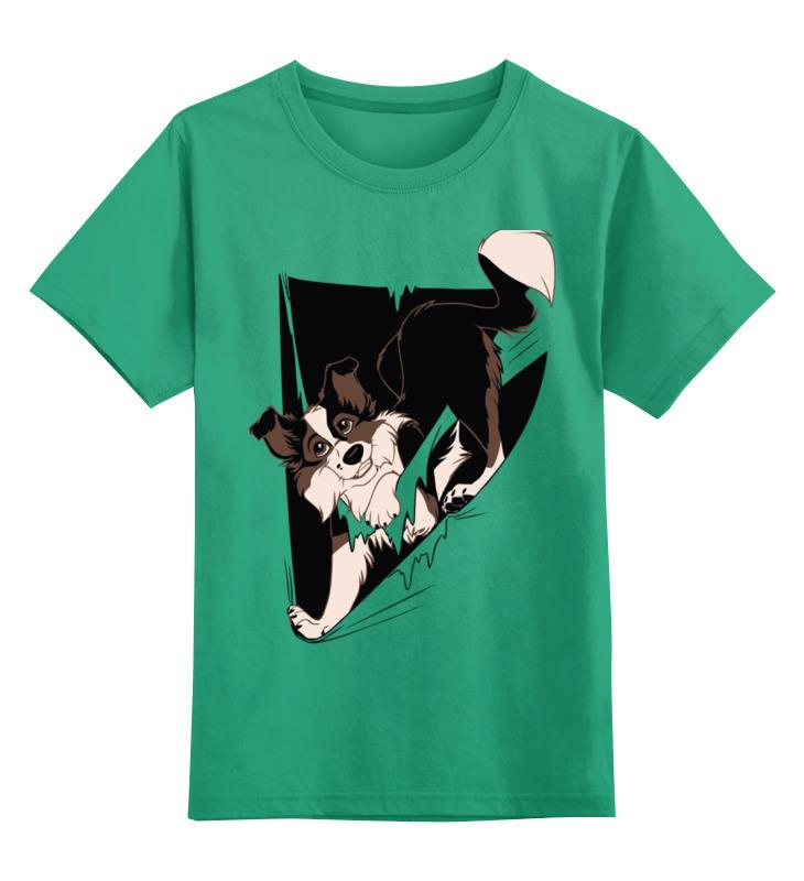 Купить 0000002617973, Детская футболка Printio Собака цв.зеленый р.128,