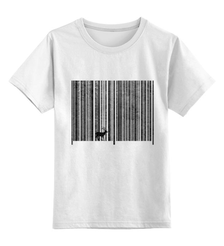 Детская футболка Printio Штрих код леса цв.белый р.128 0000002646494
