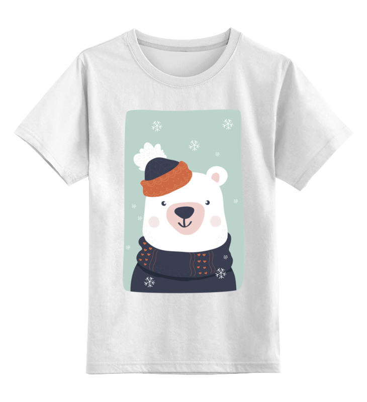 Купить 0000002654519, Детская футболка Printio Белый медведь цв.белый р.128,