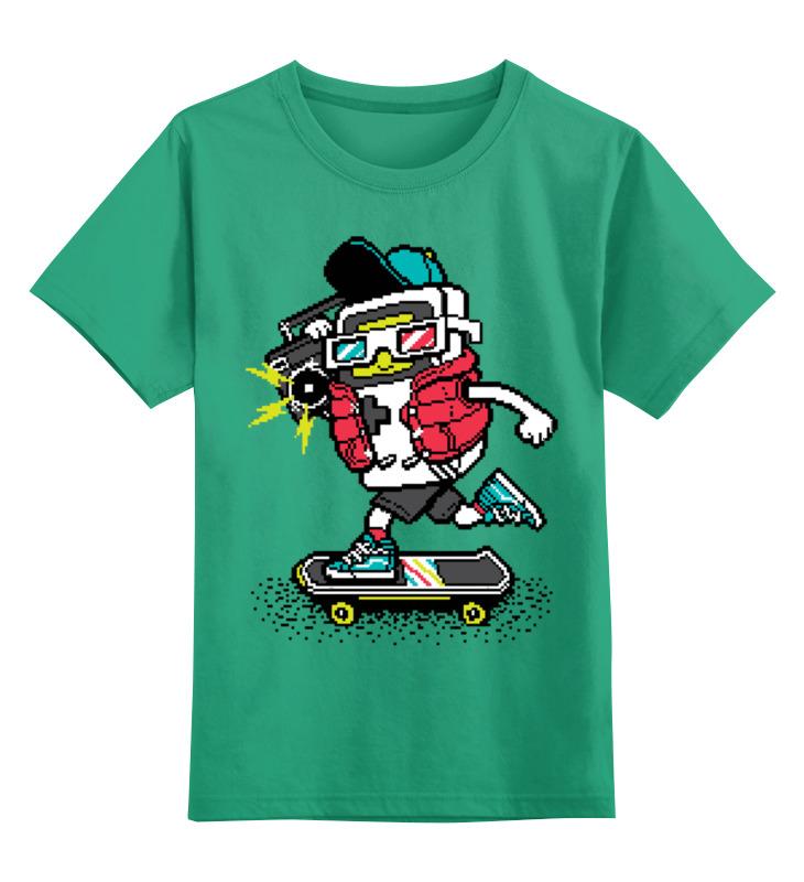 Купить 0000002715466, Детская футболка Printio Скейтер цв.зеленый р.128,