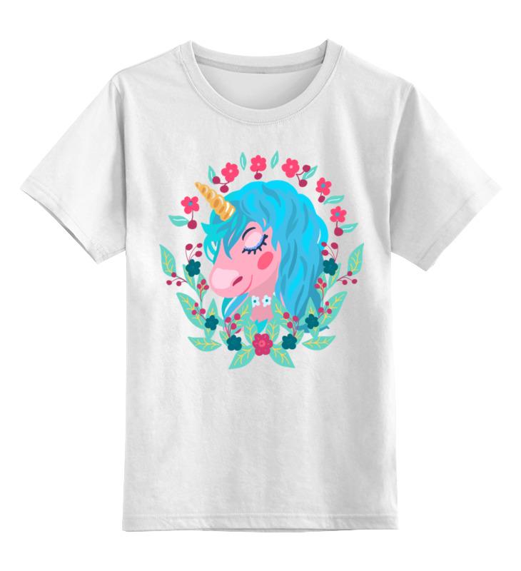 Купить 0000002725038, Детская футболка Printio Милый мультяшный очаровательный единорог цв.белый р.128,