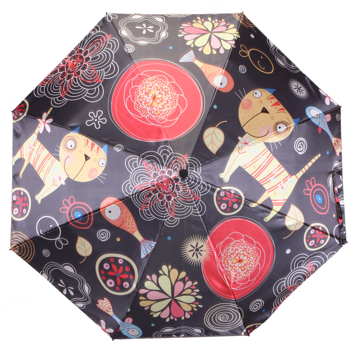Зонт складной женский автоматический Flioraj 231220 FJ черный