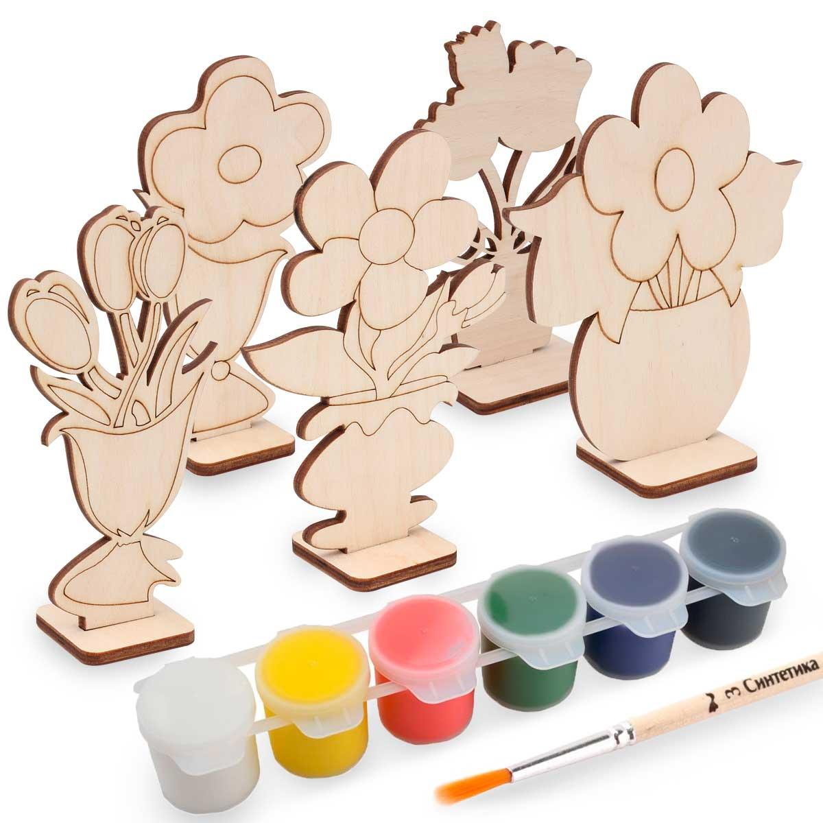 Купить Набор для раскрашивания деревянных заготовок Astra&Craft Цветы, Рукоделие