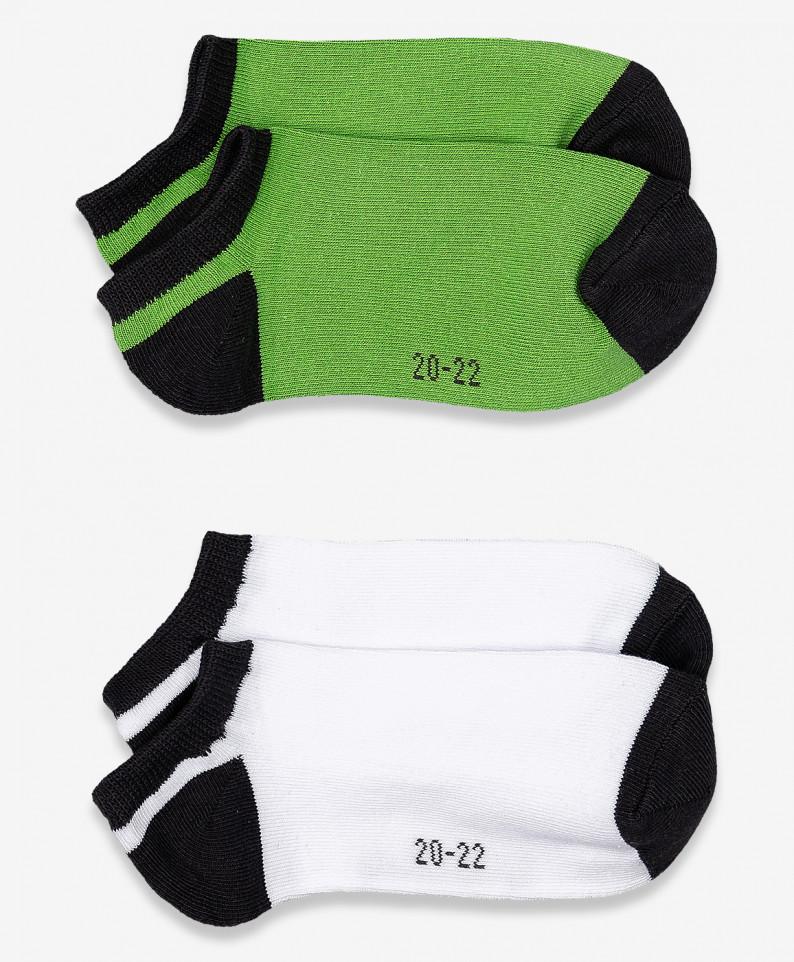 Купить 120BBBF85010000, Носки детские 2 пары Button Blue, цв. белый; зеленый р.14,