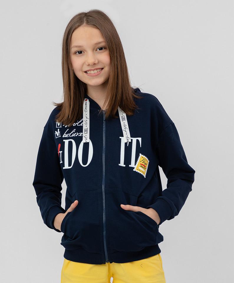 Купить 120BBGC16011000, Толстовка для девочек Button Blue, цв. синий, р.104, Толстовки для девочек