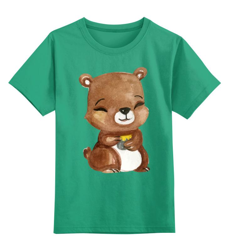 Купить 0000002621265, Детская футболка Printio Медвежонок цв.зеленый р.116,