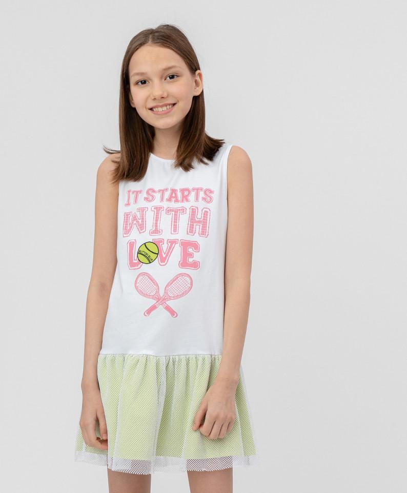 Купить 120BBGF50030200, Платье для девочек Button Blue, цв. белый, р.122, Сарафаны для девочек