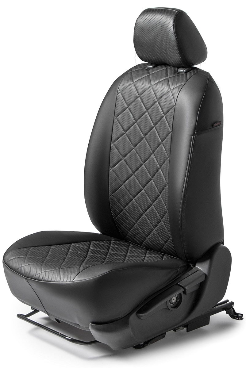Авточехлы Rival Ромб сидений Volkswagen Polo V седан , эко-кожа, черные, SC.5801.2