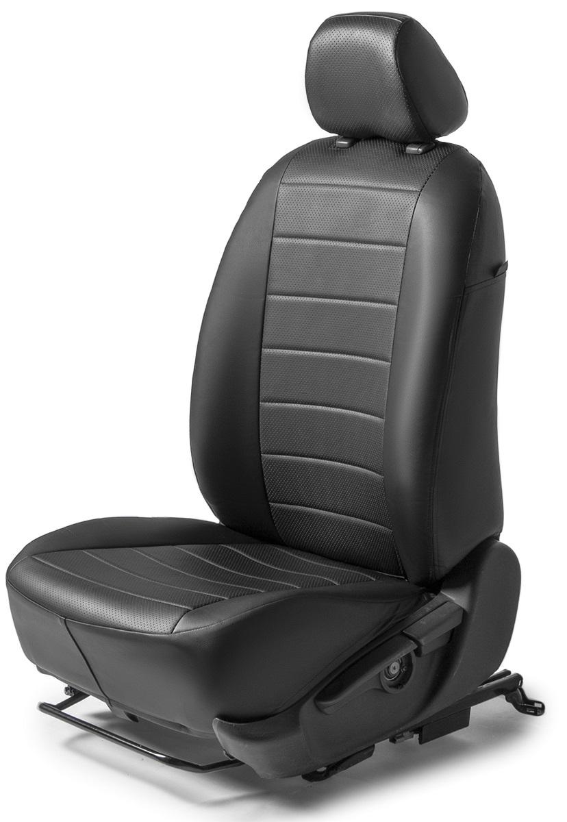 Авточехлы Rival Строчка сидений Volkswagen Polo V седан , эко-кожа, черные, SC.5803.1