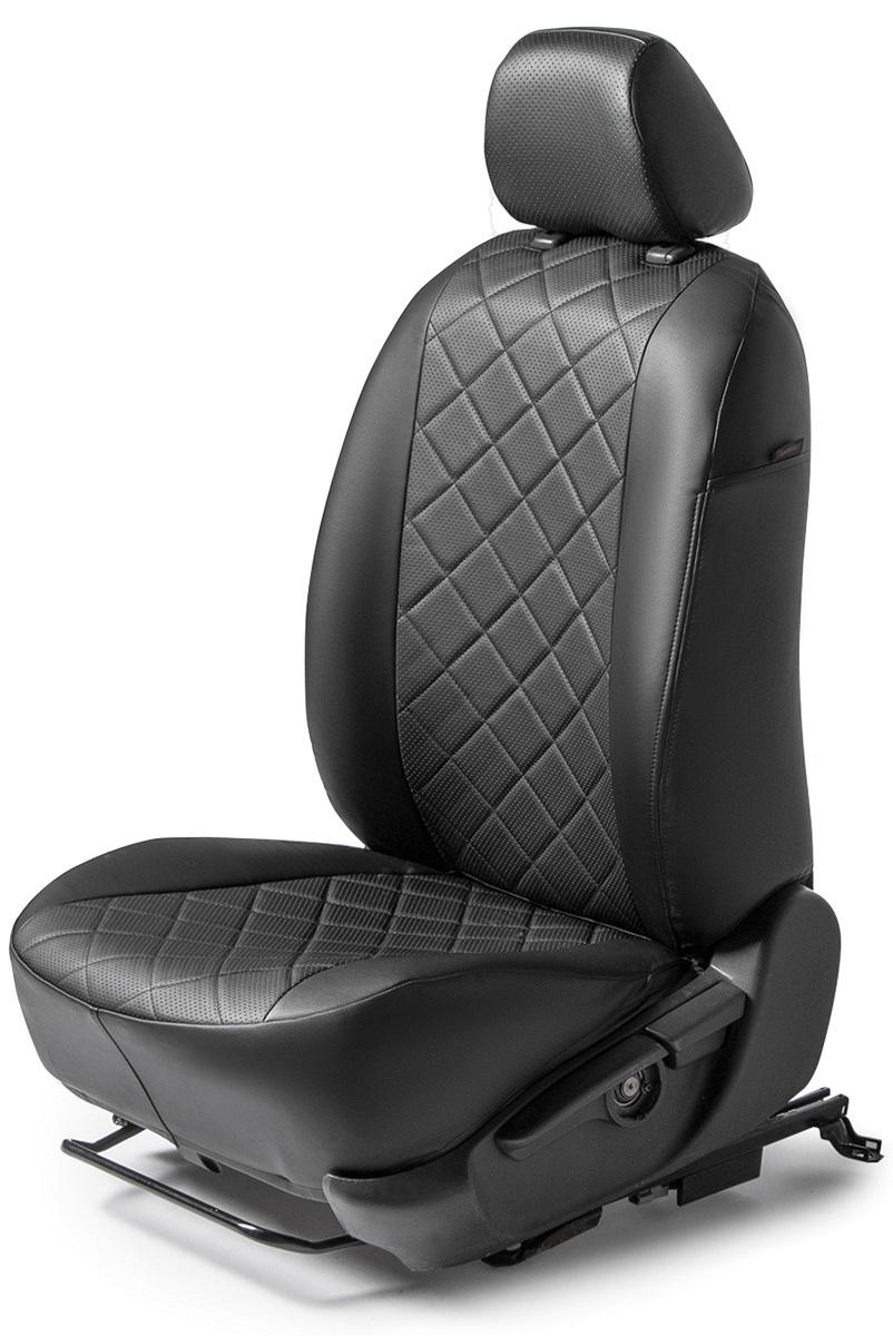 Авточехлы Rival Ромб сидений Volkswagen Polo V седан , эко-кожа, черные, SC.5803.2