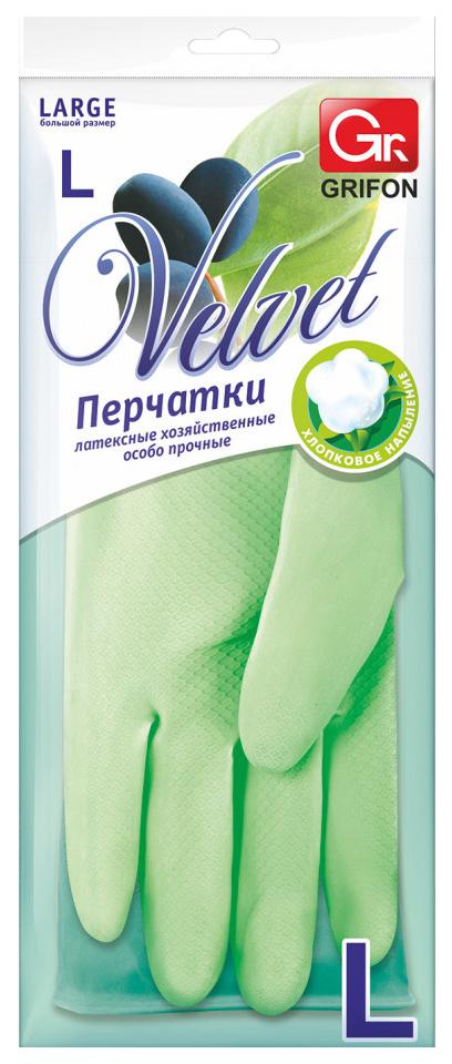 Grifon velvet перчатки латексные с хлопковым напылением,