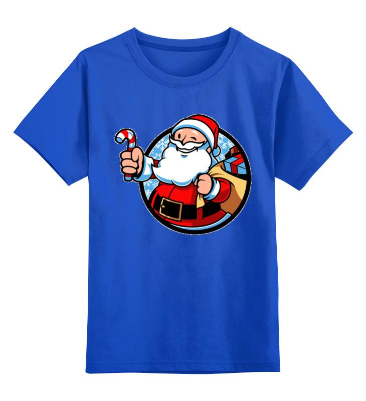 Купить 0000002587509, Детская футболка Printio Дед мороз цв.синий р.128,