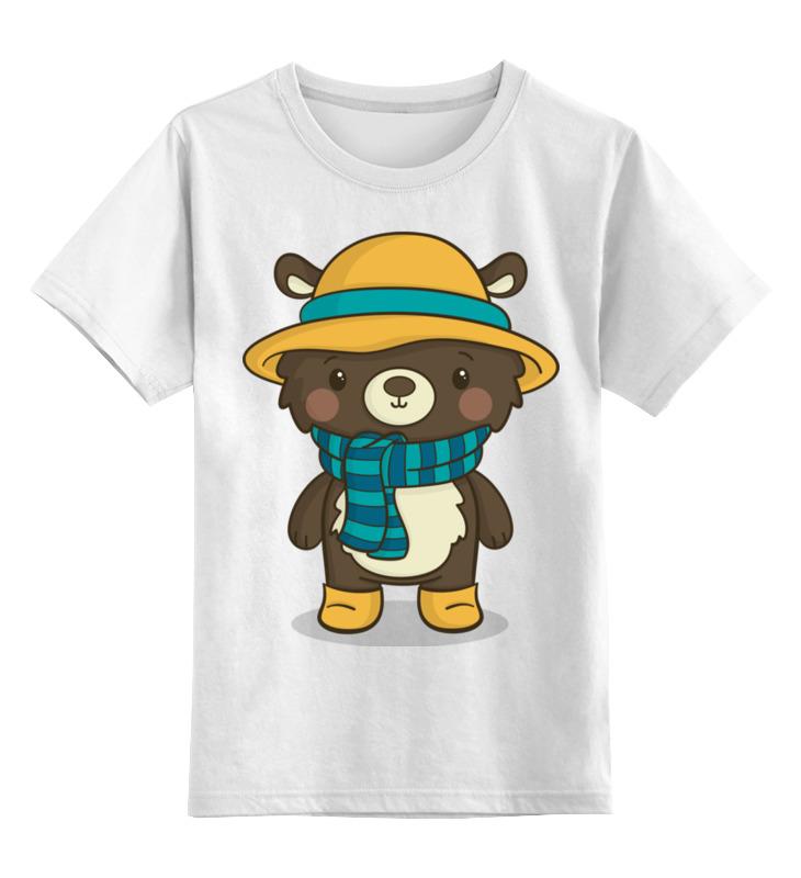 Купить 0000002654724, Детская футболка Printio Медвежонок цв.белый р.128,