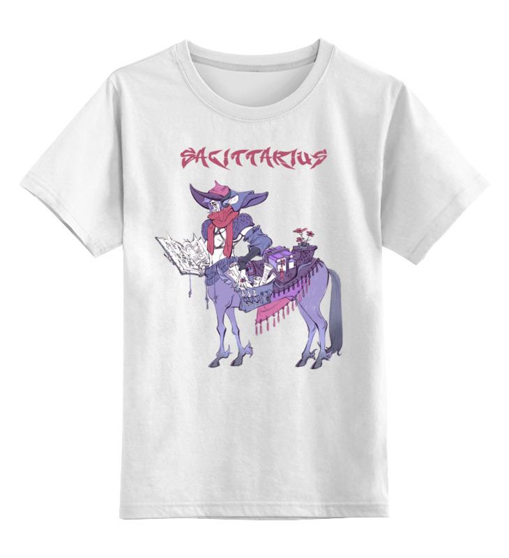 Купить 0000002655343, Детская футболка Printio Знак зодиака стрелец цв.белый р.128,