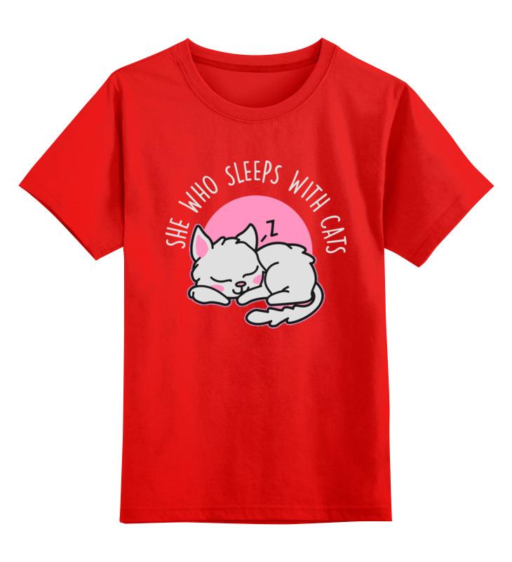 Купить 0000002671376, Детская футболка Printio Спящая кошка цв.красный р.128,