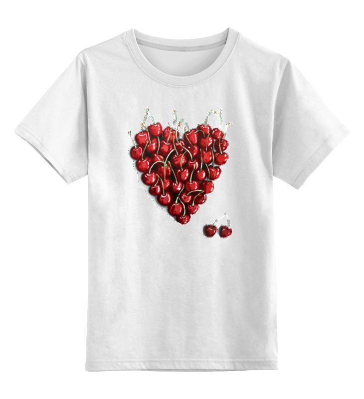 Купить 0000002672099, Детская футболка Printio Вишневое сердце цв.белый р.128,