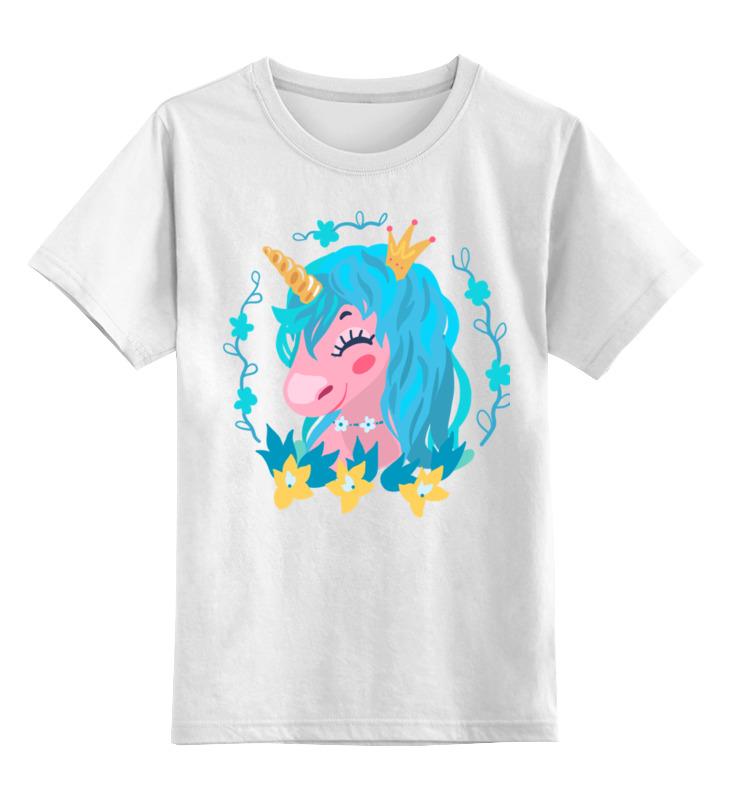 Купить 0000002725032, Детская футболка Printio Милый мультяшный очаровательный единорог принцесса цв.белый р.128,