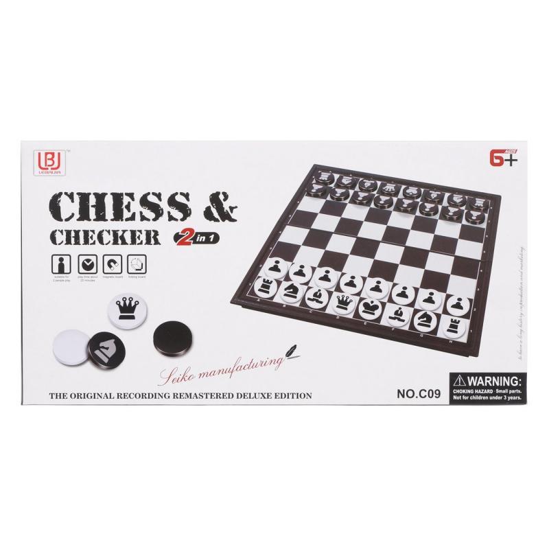 Настольная игра 2 в 1 Наша игрушка Шахматы + шашки, поле 30x30 см