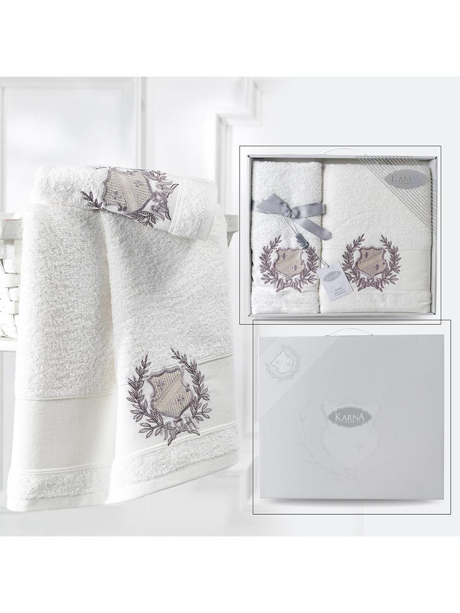 Комплект махровых полотенец Karna Davis 50х90 +70х140 кремовый