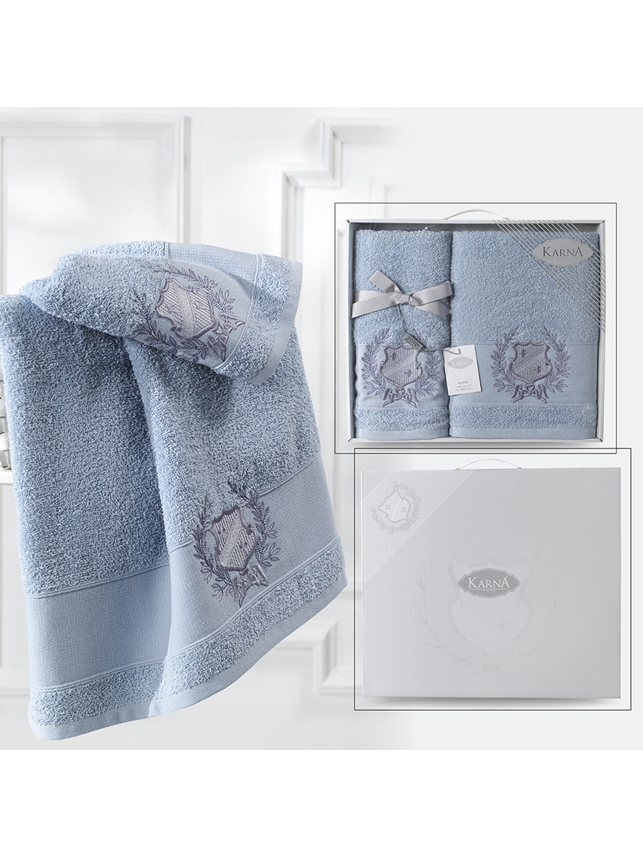 Комплект махровых полотенец Karna Davis 50х90 +70х140 голубой
