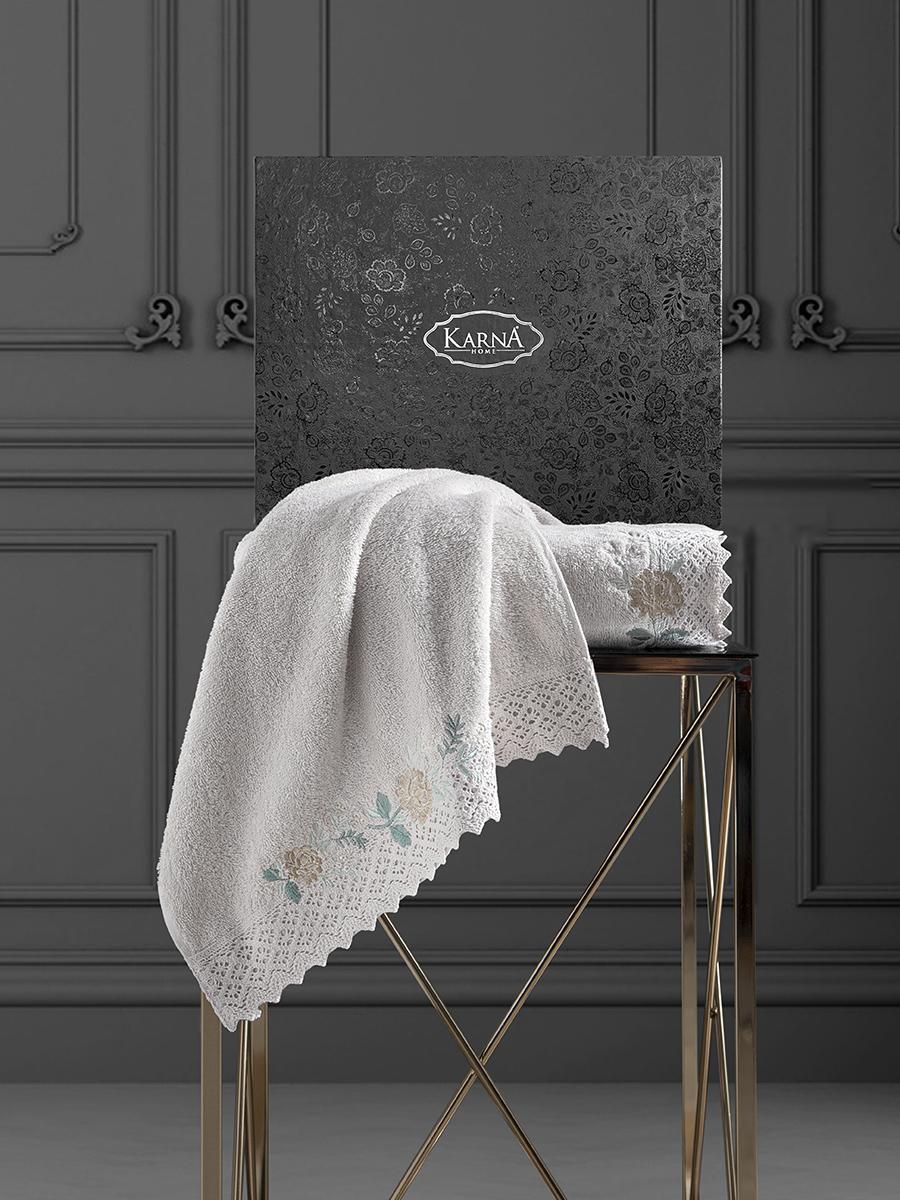 Комплект махровых полотенец с гипюром Karna Amora 50х90+70х140 бежевый