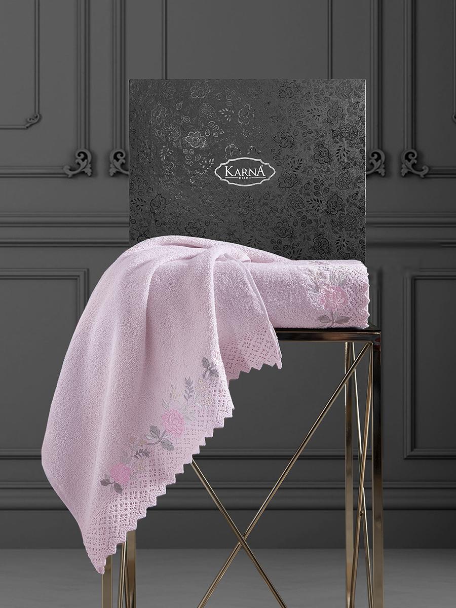 Комплект махровых полотенец с гипюром Karna Amora 50х90+70х140 розовый