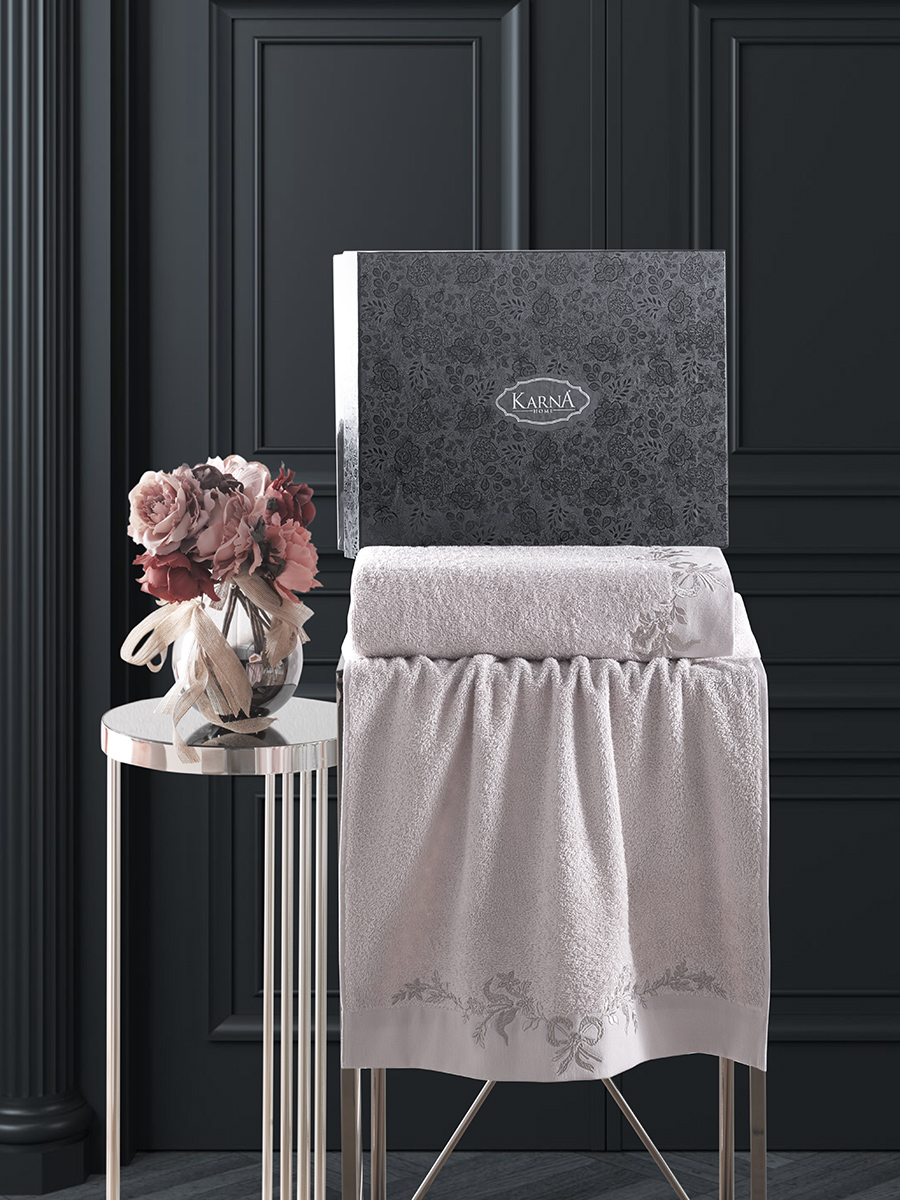 Комплект махровых полотенец Karna Valor 50х90 +70х140 бежевый