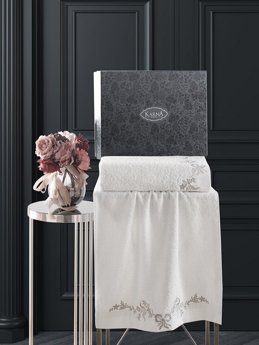Комплект махровых полотенец Karna Valor 50х90 +70х140 кремовый