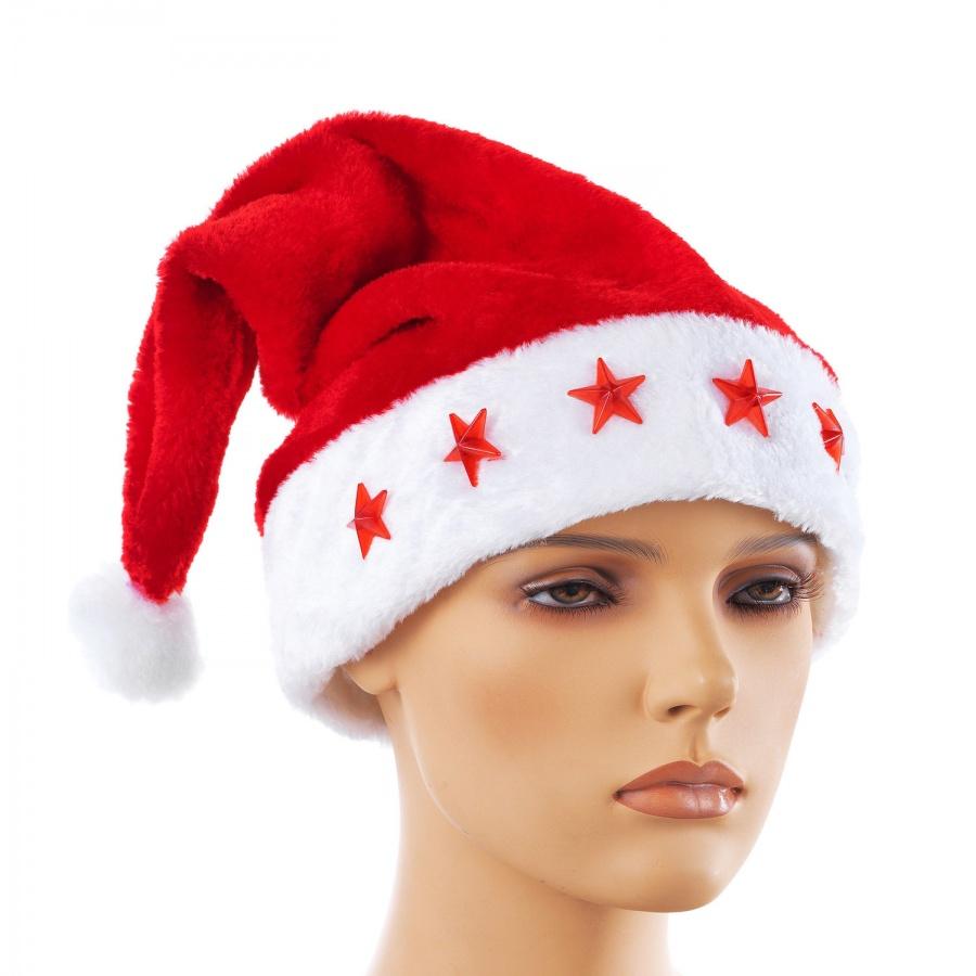 Купить Новогодняя шапка Snowmen Дед Мороз с мигающими звездами, Карнавальные головные уборы