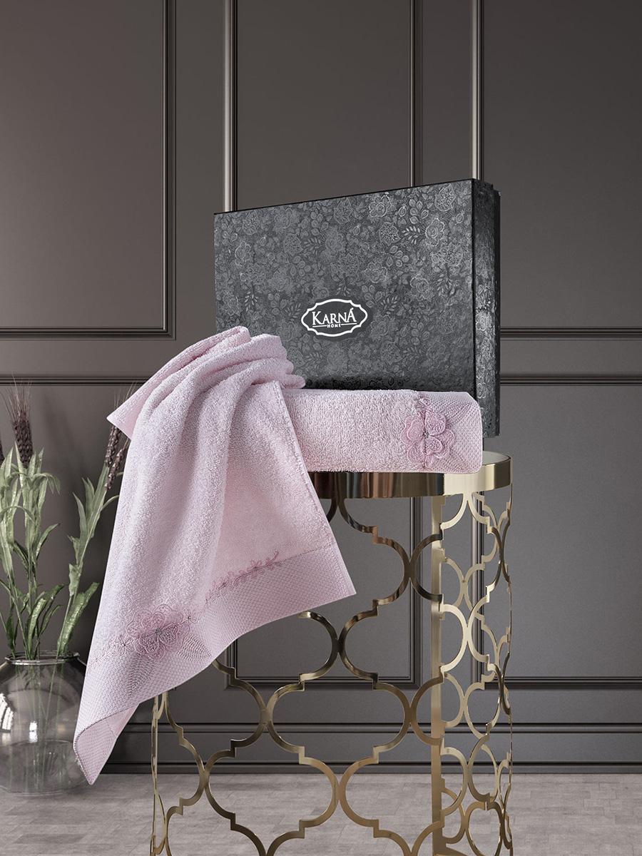 Комплект махровых полотенец с вышивкой Siena 50х90 +70х140 грязно-розовый