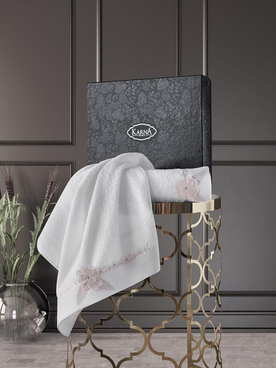 Комплект махровых полотенец с вышивкой Siena 50х90 +70х140 кремовый