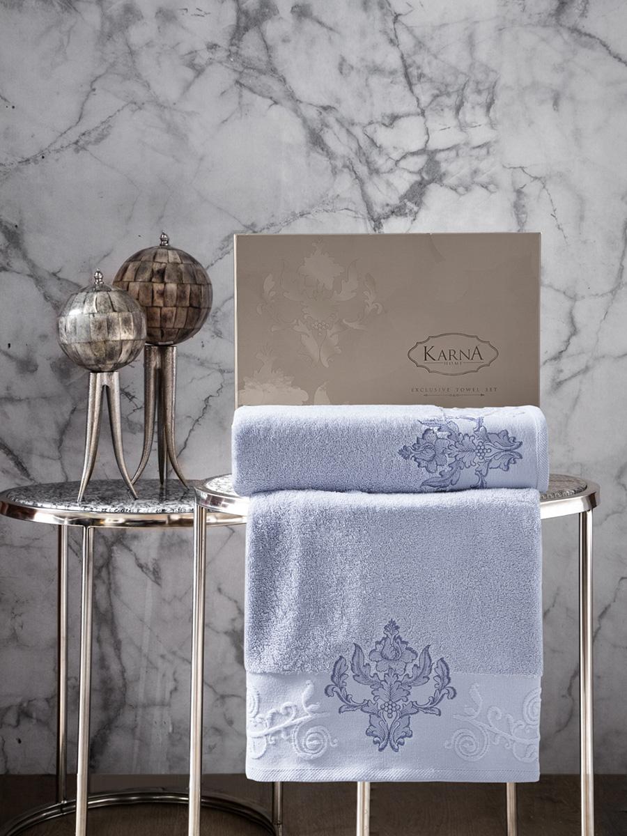 Комплект махровых полотенец Karna Arov 50х90 +70х140 светло-голубой
