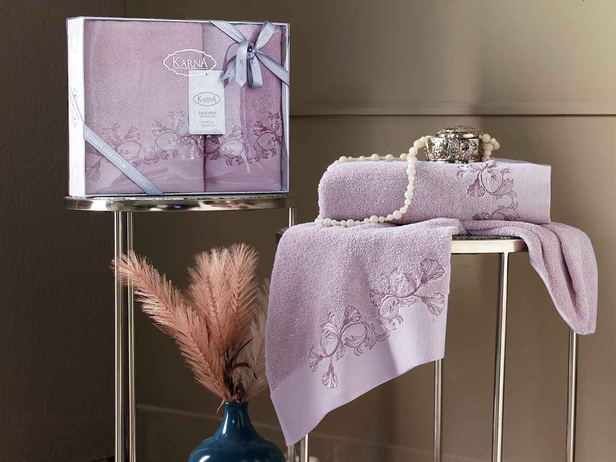 Комплект махровых полотенец Karna Viera 50х90 + 70х140 светло-лаванда